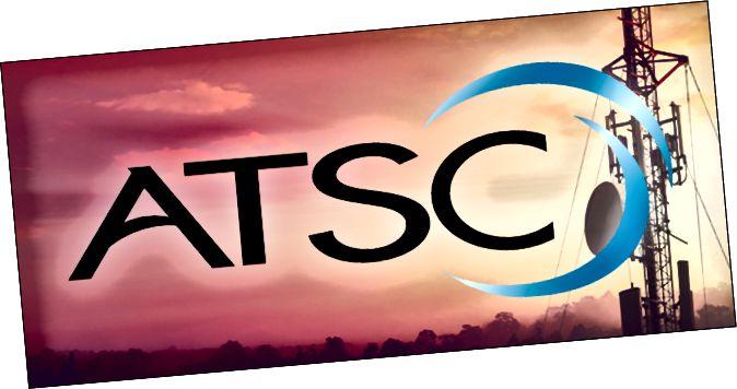 Logotip ATSC sobre una torre de difusió
