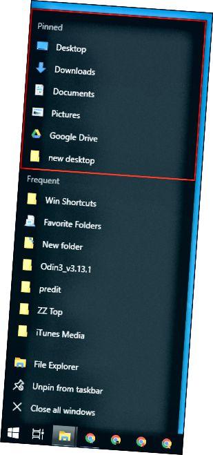 Una llista de salt de barra de tasques a l'Explorador de fitxers de Windows.