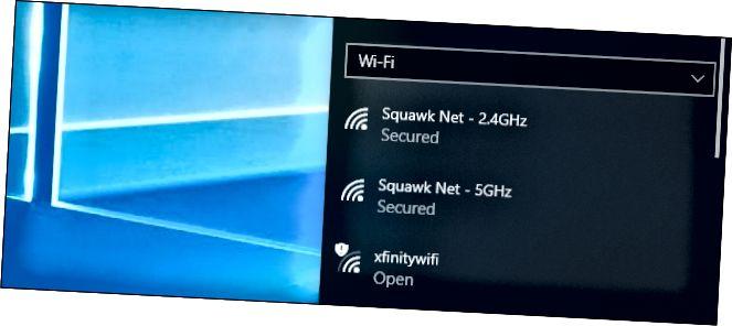 Меню падключэння да сеткі Wi-Fi у Windows 10