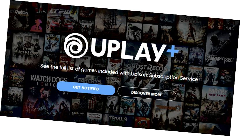 Λογότυπο Uplay Plus σε φόντο πολλαπλών εικόνων εξωφύλλου βιντεοπαιχνιδιών.