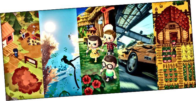 """Personatges que queden al costat d'una foguera davant d'una cabana a """"Una caminada curta""""; Un submarinista que neda just a sota de la superfície de l'oceà a """"Abzû""""; Quatre personatges davant d'una casa de platja a """"Animal Crossing: New Leaf""""; Un cotxe esportiu groc que conduïa sota un pas superior al"""