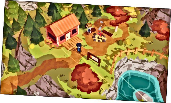 """Personatges que queden al costat d'una foguera davant d'una cabana en """"Una excursió curta""""."""