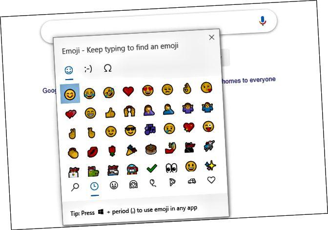 Πίνακας Emoji στο Google Chrome στα Windows 10