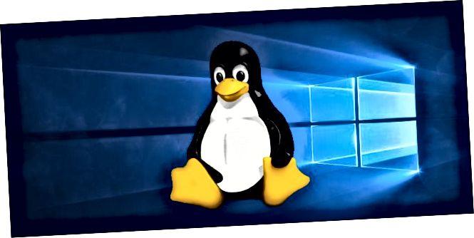 Nuskë Tux Linux në një sfond desktop Windows 10