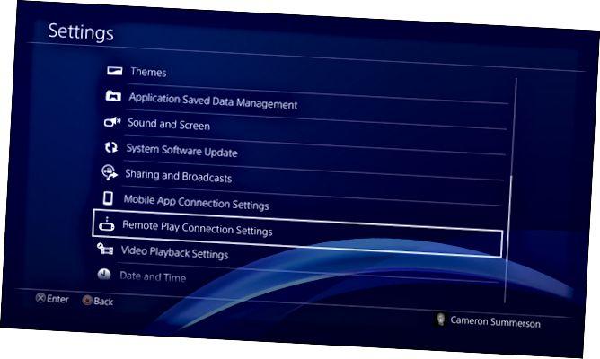 Μενού ρυθμίσεων PS4
