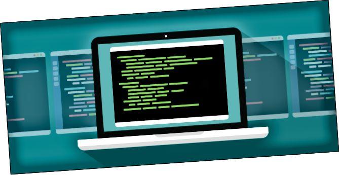 追加のテキストで満たされた端末ウィンドウが背景にある端末ウィンドウを表示するラップトップ。