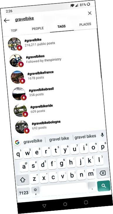 Αναζήτηση για ένα hashtag στο Instagram