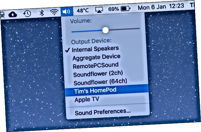 Спіс даступных прылад (уключаючы HomePod) пад значком Sound на Mac.