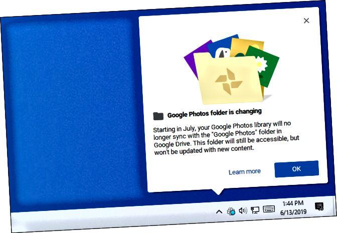 Ο φάκελος Google Photos αλλάζει μήνυμα από το Google Backup and Sync