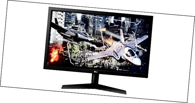 צג המשחקים LG UltraGear 24GL600F-B עם מטוסי משחקי וידאו על המסך.