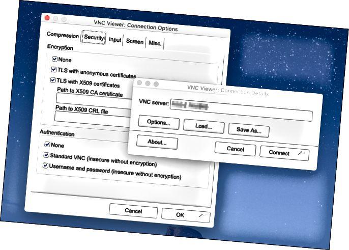 Меню прагляду TigerVNC на Mac.