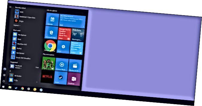 열린 시작 메뉴가있는 Windows 데스크탑