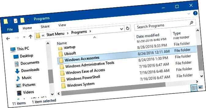 파일 탐색기에서 시작 메뉴 \ 프로그램 폴더