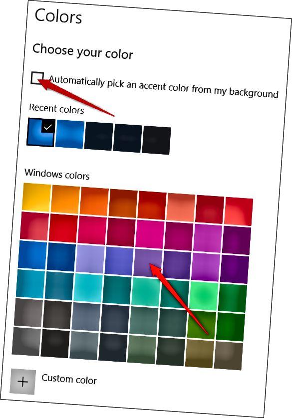 설정 앱에서 색상 선택