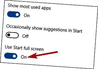 설정에서 전체 화면 사용 옵션을 선택하십시오.