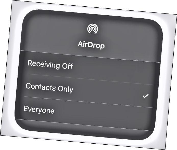 Меню бачнасці AirDrop у iOS.