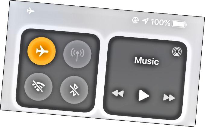 Рэжым самалёта ўключаны ў Цэнтры кіравання на iOS.