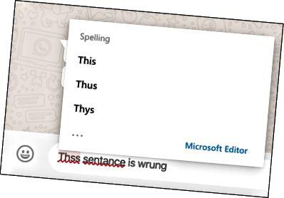 Το Microsoft Editor χρησιμοποιείται για τη διόρθωση ορθογραφικών λαθών στο Whatsapp στον Ιστό