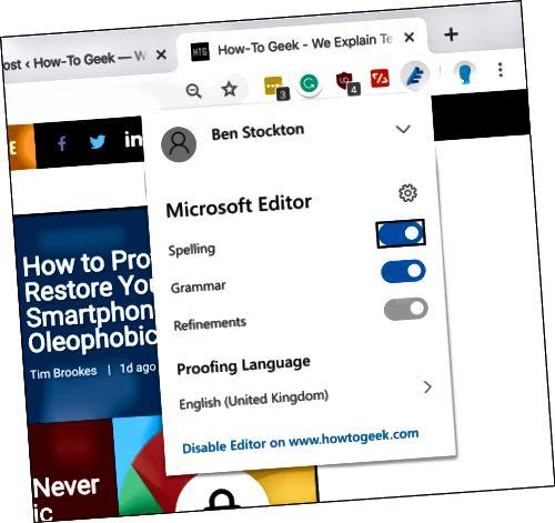 Η καρτέλα ρυθμίσεων επέκτασης του Microsoft Editor Chrome
