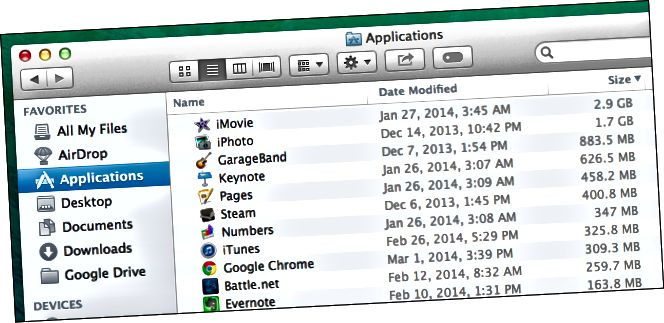 ნახვის ზომა-დაინსტალირებული-პროგრამები-Mac- ში