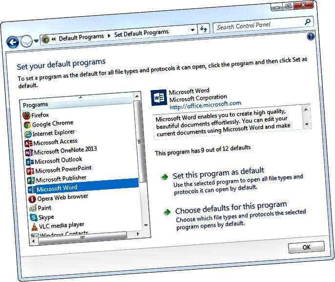 configureu els vostres programes per defecte