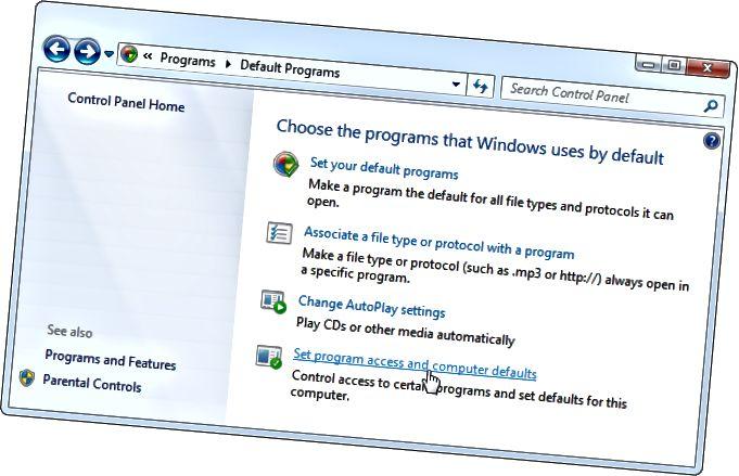 Els valors per defecte de llançament-conjunt-programa-accés-i-ordinador-