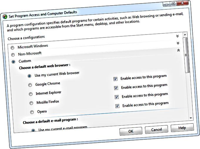 Els valors predeterminats de programes de configuració d'accés i d'ordinador