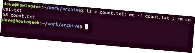 端末ウィンドウでの「ls> count.txt; wc -l count.txt; rm count.txt」コマンド