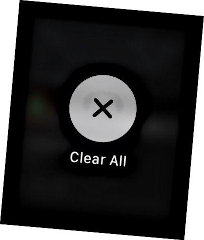 Кнопка «Ачысціць усё» на Apple Watch.