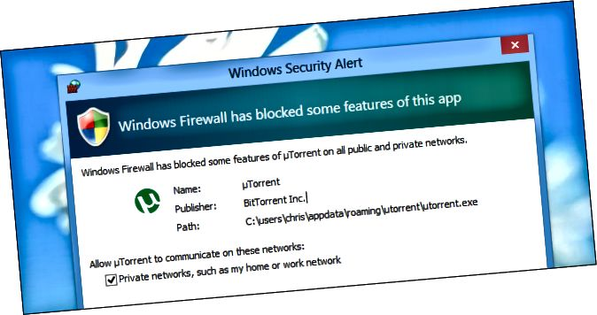 창문 방화벽 경고