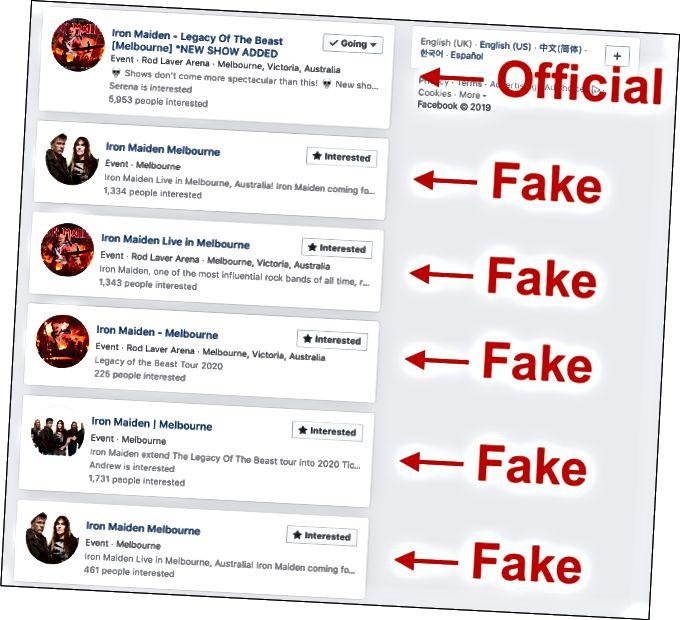 Дублікат ілжывых падзей у Facebook