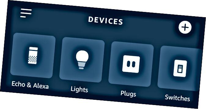 Η εφαρμογή Alexa δείχνει φώτα, βύσματα και διακόπτες.