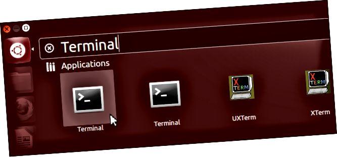 llançament del terminal-on-ubuntu