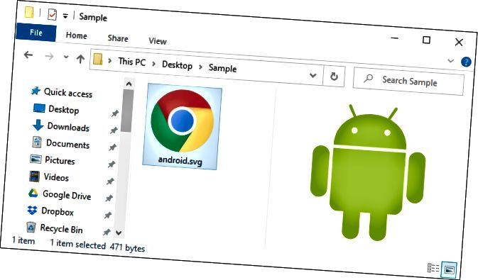 Папярэдні прагляд файла SVG на панэлі папярэдняга прагляду File Explorer.