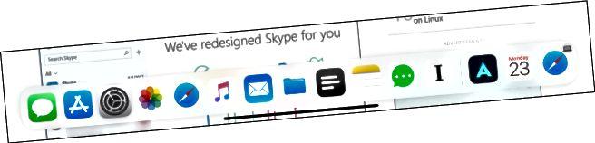 Αναπτύξτε το Dock χρησιμοποιώντας το δρομέα στο iPad