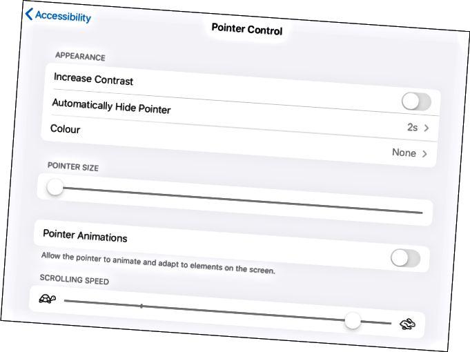 Επιλογές ελέγχου δείκτη για δρομέα στο iPad