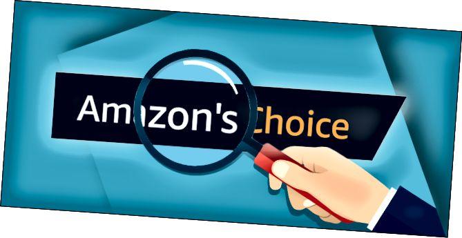Мульцяшная рука трымае павелічальнае шкло над лагатыпам выбару Amazon's Choice.