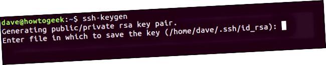 Потврда локације за складиштење ссх кључа у прозору терминала