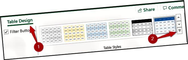 მაგიდის სტილის გალერეა ლენტებით
