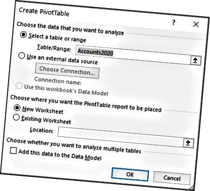 Excel- ში შექმენით PivotTable