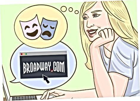 Indtastning af et online lotteri for billetter til Broadway
