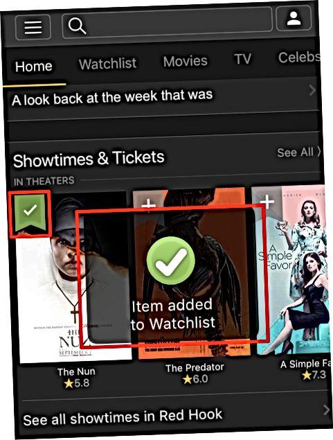 IMDb mobil ilovasida Uy sahifasidan foydalanish