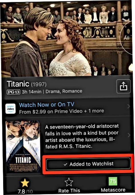 IMDb mobil ilovasida qidirishdan foydalanish