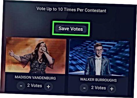 Brug af American Idol-appen til at stemme