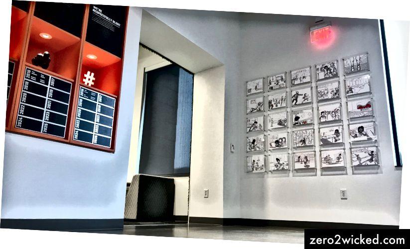 Työntekijät näkevät kuvakäsikirjoituskuvia matkalla Hudl HQ: lle ja ulos.