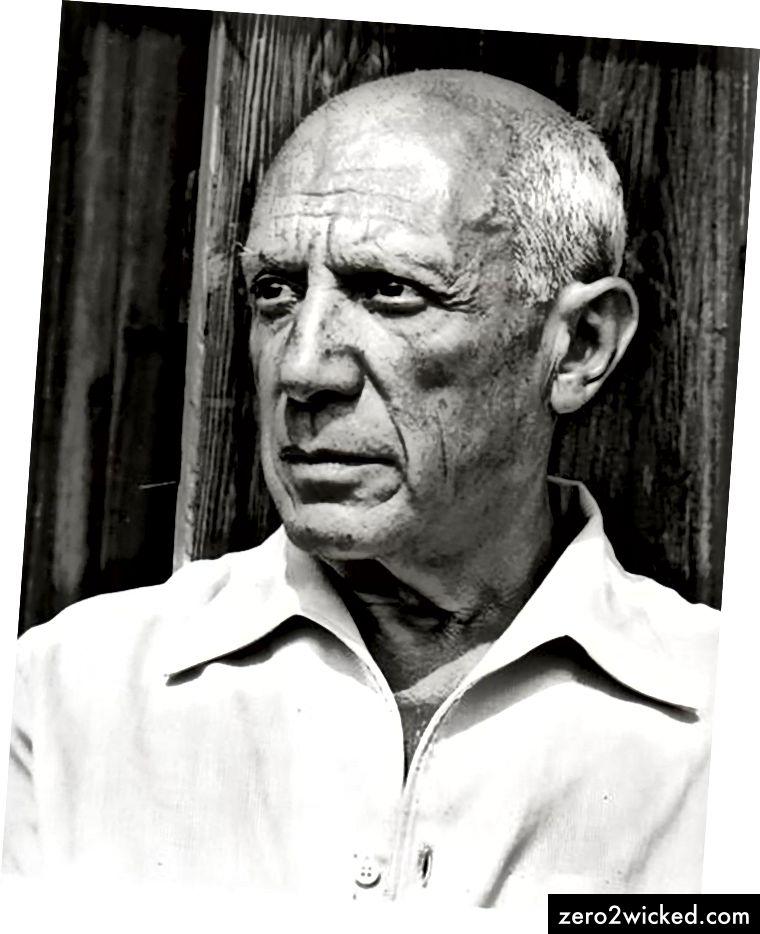 Pablo Picasso, fotografiert von Gilles Ehrmann im Jahr 1952.